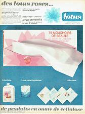 PUBLICITE ADVERTISING 115  1966  LOTUS ROSE   couches papier wc serviettes table