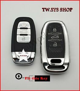 Soft TPU Key Case Cover For Audi A4,5,6,S5,S7,Q5 ☆SILVER☆