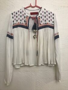 Tigerlily Sauteurs white multi Shell/leather Embroidered Jacket 10