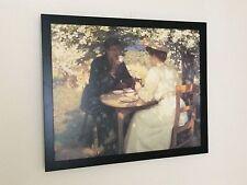 "In primavera, Harold CAVALIERE stampa, 20"" x16"" telaio, VINTAGE Picnic Wall Art"