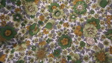 "Vintage Cotton Fabric SHADES OF GREEN & GRAY FLORAL 1 Yd/35"" Wide Manes"