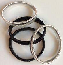 2 pares de metal con Manga titulares de ligas Plateado y Negro Elástico Camisa Bandas de brazo