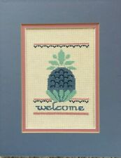 Welcome Pineapple Blues Green Pinks Cross Stitch Completed Matted Unframed**