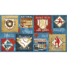 Baseball 7th Inning Home Run Strike Blue Cotton Fabric Wilmington 24