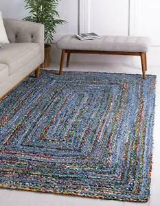 Rug Denim 100% Natural Braided Style Rug Reversible Modern Rustic Look area rug