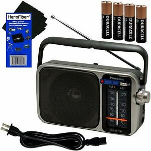 Panasonic Portable AM/FM Radio w/LED Tuning Indicator +4 AA Batteries +HeroFiber