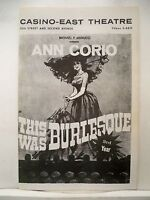 THIS WAS BURLESQUE Playbill ANN CORIO / STEVE MILLS NYC Third Year 1964