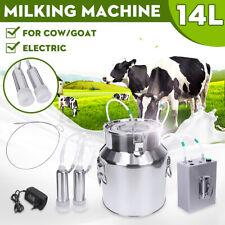 14L Upgraded Dual Heads Farm Milking Machine Vacuum Impulse Pump Goat Milker