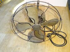 "Vintage GE 4 Blade Die Cast Metal Cage Electric Fan Patented 1908 12"" diameter"
