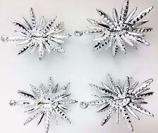 FESTIVE 60'S ALUMINUM SILVER SPUTNIK CHRISTMAS TREE ORNAMENTS
