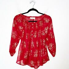 Abercrombie & Fitch Red and Gold Floral Sheer Blouse Womens Size S Small