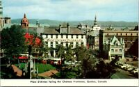 VINTAGE POSTCARD STREET SCENE AND HOTELS AT OLD QUEBEC CITY 1960's