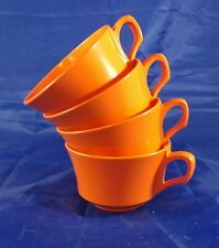 Allied Chemical Cups Melmac Melamine Orange Coffee Tea Cup Mug Set Of Four