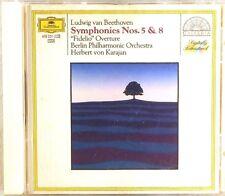 DGG FULL SILVER Beethoven KARAJAN Symphonies #5 & #8 (CD, W. GERMANY) 419 051-2