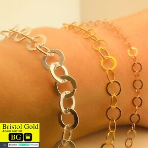 925 STERLING SILVER 3 in 1 CHAIN BRACELET-170mm-FULLY HALLMARKED,FREE P&P