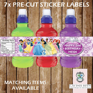 PERSONALISED DISNEY PRINCESSES FRUIT SHOOT LABELS CHILDREN PARTY FAVOURS GIFT