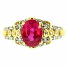 2.25 CT FINE RUBY & DIAMOND RING 14K YELLOW GOLD NATURAL RED OVAL GREAT MOUNTING
