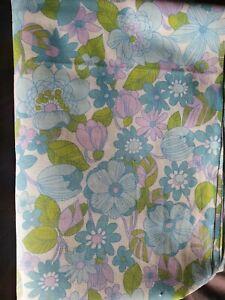 Vintage Retro Funky 70s Blue Purple Green flower power Flat Sheet Double
