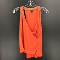Ann Taylor Womens Faux Wrap Tank Top Orange Scoop Neck Stretch Blouse Petites SP
