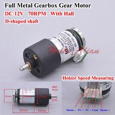 DC12V 70RPM Large Torque Full Metal Gearbox Gear Motor Speed Reducer Hall Sensor