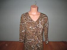 New Womens Size xL Jones New York Brown Paisley Career Top Shirt Ruffle V