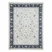 "9'x11'10"" Wool, Silk 250 Kpsi Ivory All Over Design Nain Hand-Knotted Rug R59415"