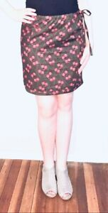 Red Olive Brown Pink Floral Cotton Pencil Skirt Size 12 New! ~EugeniaM Designs~