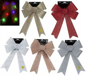 Large 29x43cm Christmas Light up LED Glitter Bow Door Hanging Welcome Decoration
