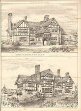 1884 ANTIQUE ARCHITECTURAL PRINT- GILCRUCE, THE RESIDENCE OF JOHN SEALBY ESQ