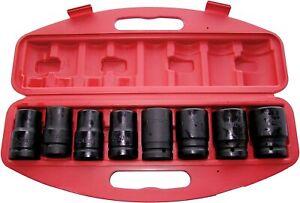 "Amtech 8pc 1"" Air Impact Socket Set 21-41mm Heavy Duty Carbon Steel Storage Box"