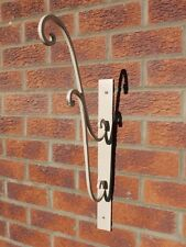 Hanging Basket Wall Bracket in Cream Distressed Shabby Chic