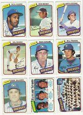 VINTAGE 1980 TOPPS MAJOR LEAGUE BASEBALL CARDS – MILWAUKEE BREWERS – MLB