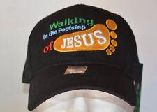 WALKING IN THE FOOTSTEP OF JESUS, BASEBALL BLACK CAP NEW