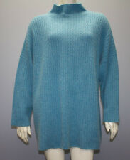 ESKANDAR Blue CASHMERE HALF CABLE SLOPED SHOULDER MOCK NECK SWEATER Sz OS HS2970
