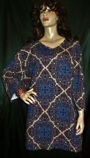 NWT CATHERINES NAVY ROYAL BLUE RED STAINED GLASS MEGA EXTRA LONG 4X  TOP FS