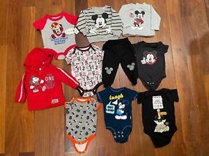 Lot Boy Clothes Size 3m 6m 9m 12m DISNEY BABY Mickey Mouse One Piece Pants Shirt