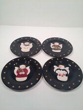 "4 Sonoma Life Style Christmas SNOWMAN ANGEL 8"" Luncheon Dessert Salad Plates"