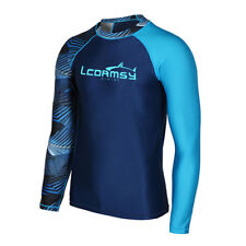 Mens Rash Guard  Long Sleeve Top UV Protection Surfing Shirts Lycra Swimwear
