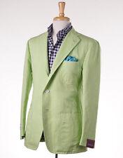 NWT $2395 SARTORIA PARTENOPEA Lime Green Cotton-Linen Blazer 42 R Sport Coat