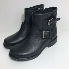 Steve Madden Black Leather Ankle Boots Buckles Combat Size 7