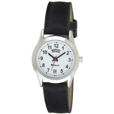 Ladies Day Date Watch, silver case with black faux leather strap, by Ravel