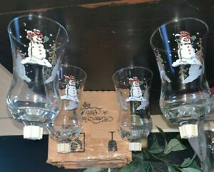 Vintage Home Interior Christmas Snowman Votive Cups Set of 4 in Box