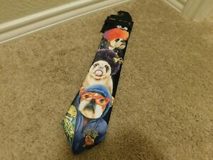 Brand new Black men's tie with dogs on it