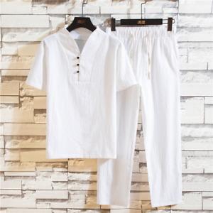 National Style Men Summer Linen Plus Size Multicolor Short-sleeved T-shirt Suit