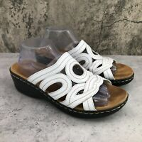 Clarks Bendables Lexi Sycamore Women's White Leather Wedge Slides Sandal Size 10
