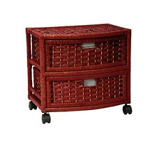Low Chest of Drawers Lingerie Dresser Bathroom Laundry Storage Red 2 Bin Tower