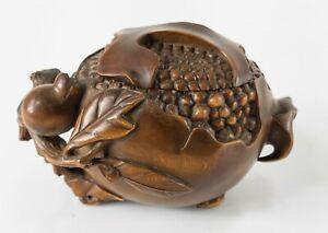 Antique Vintage Japanese Carved Boxwood Wood Okimono Netsuke Pomegranate Signed