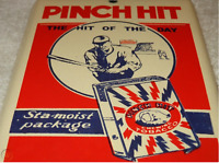 VINTAGE PINCH HIT CHEWING TOBACCO BASEBALL PLAYER PORCELAIN METAL GAS & OIL SIGN