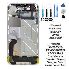 New Complete Mid Frame assembly Housing Power Mute Volume Switch For iPhone 4 s