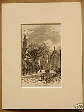 ST. MARK'S CHURCH NEW YORK USA ANTIQUE MOUNTED ENGRAVING FROM 1876 PUBLICATION